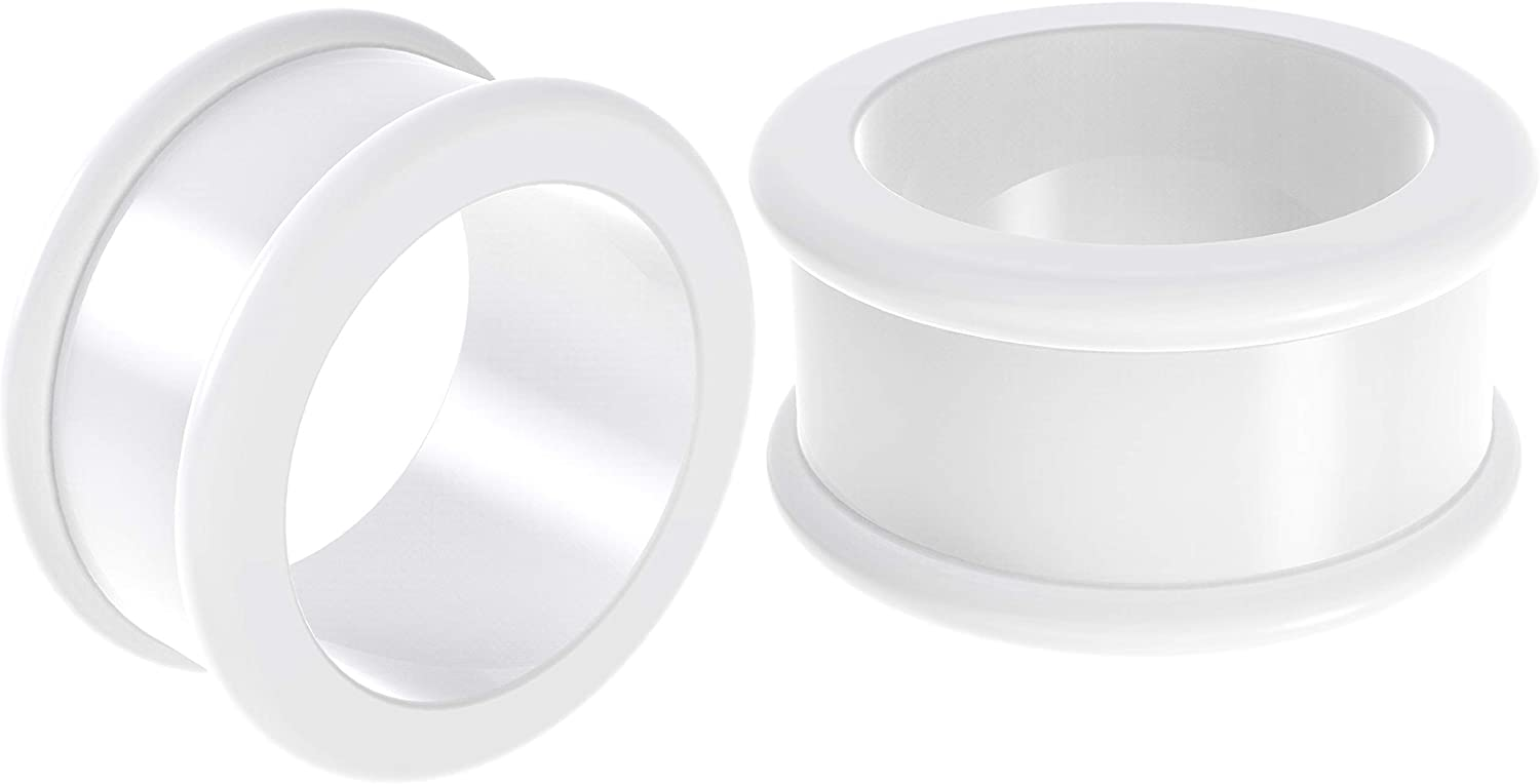 2pc Silicone White Double Flared Flesh Tunnels Saddle Earring Ear Ring Stretcher Lobe Gauge Plug Piercing Jewelry