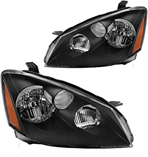 Headlight Assembly for 2005 2006 Nissan Altima Replacement Headlamp with H1 Halogen bulb Low Beam, Black Housing Amber Reflector
