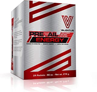 Valentus Prevail Natural Energy Boost - 100% Pure Ingredients Cherry Flavored Drink Mix, 24 Sachets (9g Each)
