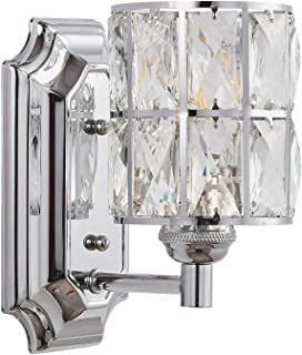 Doraimi 1 Light Crystal Wall Sconce Lighting with Chrome Finish,Modern and Concise Style Wall Light with Crystal Plate Metal Shade for Bathroom Crystal Light fixtures LED Bulb(not Include)