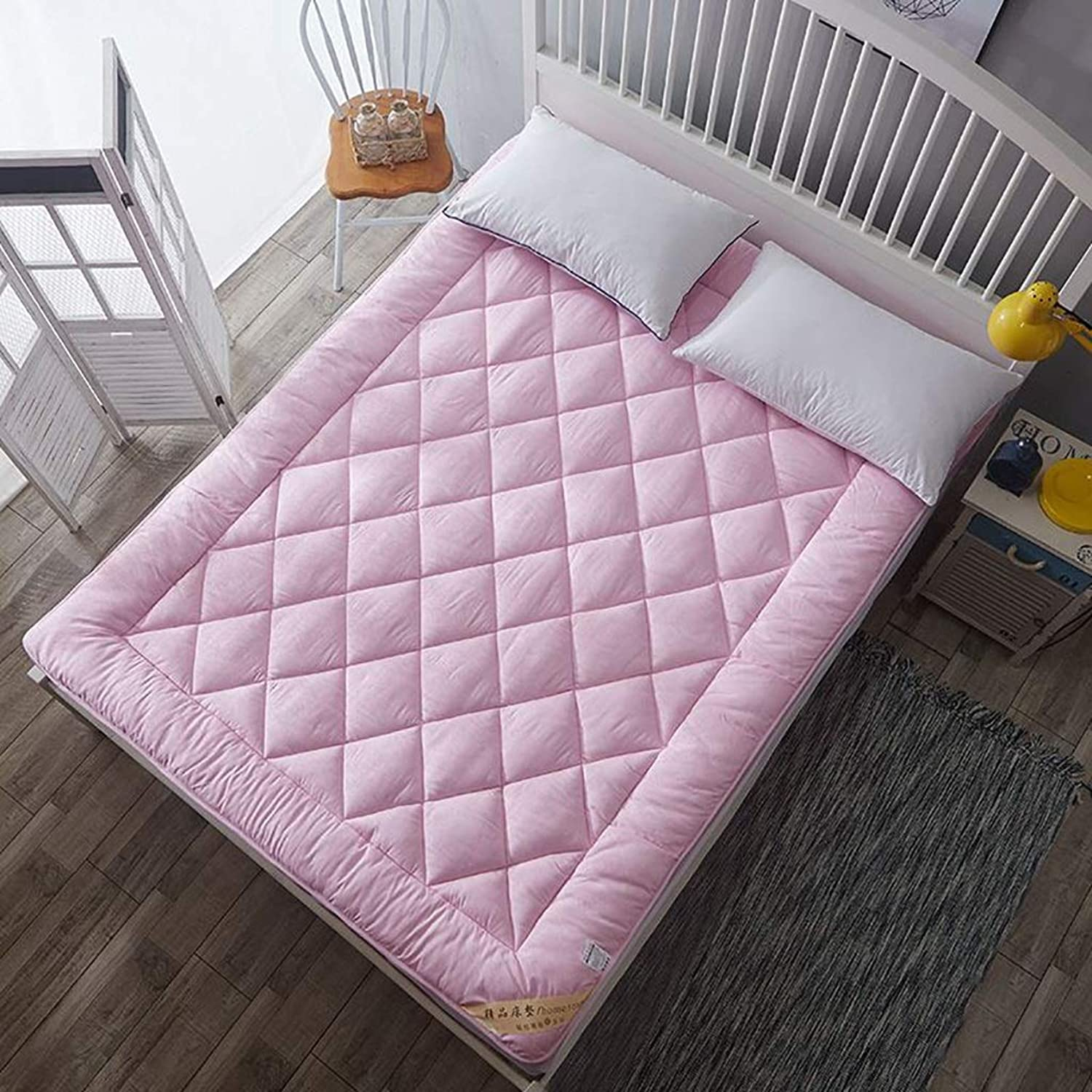 Student Dorm Mattress Double Futon Mattress Portable Sleeping Pad Foldable Futon Tatami Mattress (color   Pink, Size   1.0X2M Bed)