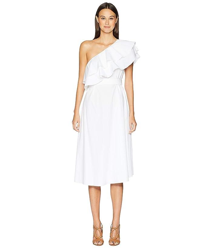 ESCADA Dafaeli One Shoulder Ruffle Fit and Flare Dress (White) Women