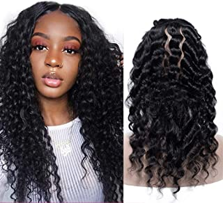 DAIMER HAIR 360 Frontal Deep Wave Full Lace Closure Pre Plucked Brazilian Virgin Hair Remy Hair 130% Density Unprocessed Human Hair Natural Black with Baby Hair (16 Inch)