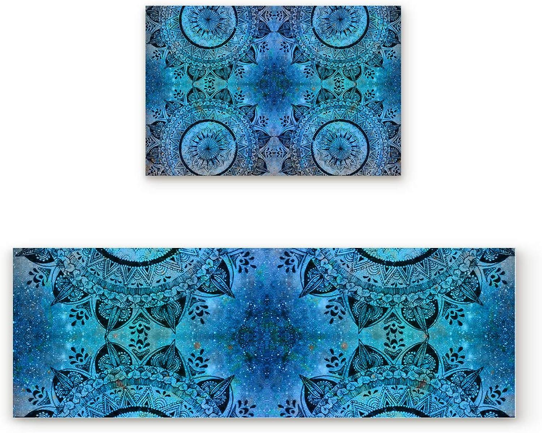 Aomike 2 Piece Non-Slip Kitchen Mat Rubber Backing Doormat Starry Mandala Floral Pattern Runner Rug Set, Hallway Living Room Balcony Bathroom Carpet Sets (19.7  x 31.5 +19.7  x 63 )