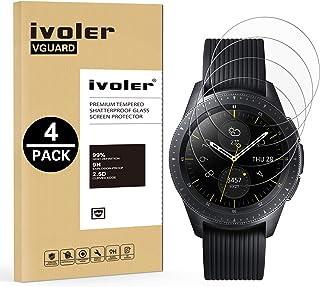 ivoler [4 stycken] skottsäkert glas skyddsfolie kompatibel med Samsung Galaxy Watch 46 mm/Samsung Gear S3 Frontier/S3 Clas...