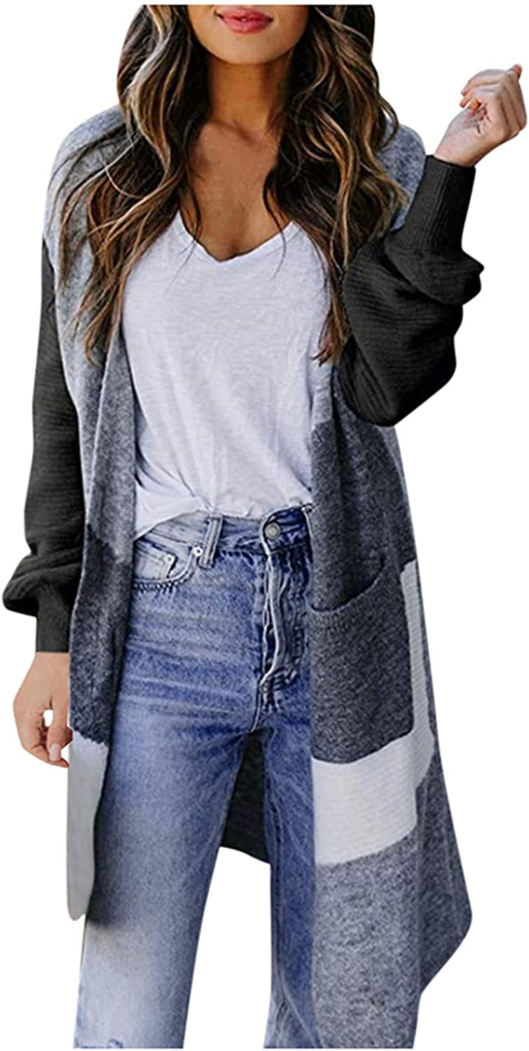 Sweaters for Woman Womens Boho Patchwork Cardigan Long Sleeve Open Front Knit Sweaters Coat Pockets