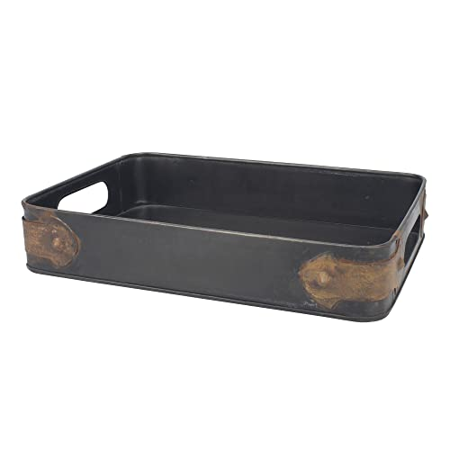 Stonebriar Rectangle Slate Metal Serving Tray with Rust Trim & Cutout Handles, Industrial Butler Tray, For Serving Drinks & Snacks, Centerpiece for Coffee Table, Document Organizer for Desk or Office