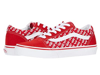 Vans Kids Old Skool (Little Kid) ((Logo Repeat) Racing Red/True White) Kids Shoes