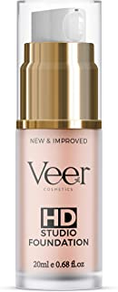 Veer HD Studio Foundation Full Coverage Foundation | Natural Wear Liquid Foundation | Professional Anti-Aging Cosmetics for All Skin Types | Long Lasting Poreless and Scar-free Finish | (Nude)