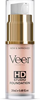 Veer HD Studio Foundation Full Coverage Foundation | Natural Wear Liquid Foundation | Professional Anti-Aging Cosmetics for All Skin Types | Long Lasting Poreless and Scar-free Finish | (Cocoa)