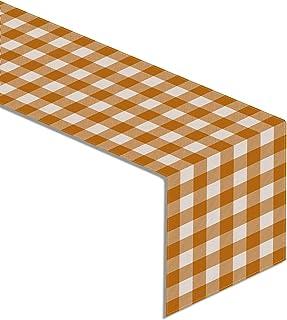 Rainlemon Linen Orange White Buffalo Check Plaid Table Runner Fall Thanksgiving Kitchen Dining Room Decoration