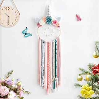 TEESHLY Unicorn Dream Catchers with Flowers, Handmade Woven Dreamcatchers for Wall Hanging Decoration Dream Catcher with Braids Ornament for Girls Kids (Silver Horn)