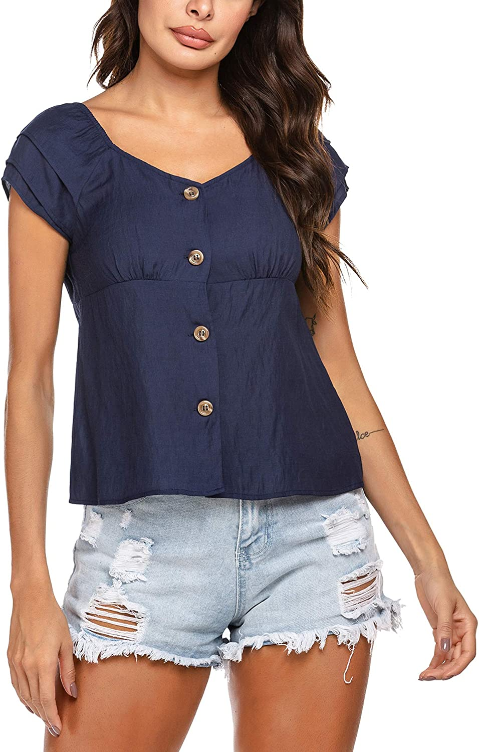 Chigant Women's Ruffle Short Sleeve Shirts Square Neck Button Down Tops Summer Casual Top Blouse