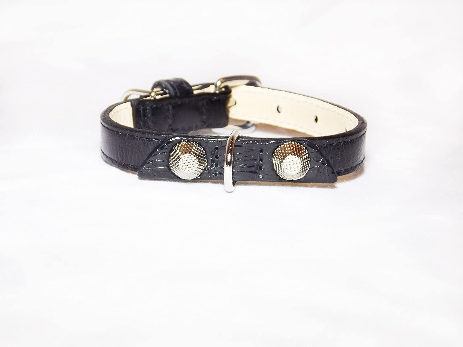 Balencioochee Straight Dog Collar, Rivets, Extra Small Size 8, Black with Silver Rivets