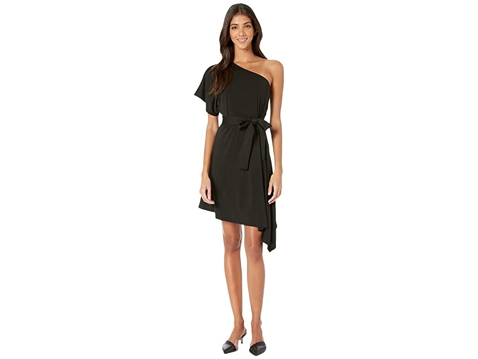 Susana Monaco One Shoulder Angle Hem Dress (Black) Women's Dress