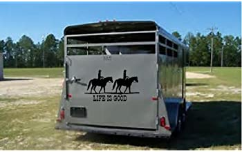 "CreativeSignsnDesigns Life is Good- with Horses Trail Riding Graphics- Trailer or Truck Vinyl Decal (20""x11.5"", Black)"