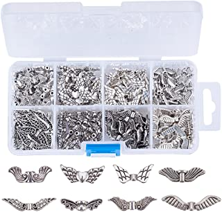 Kissitty Assorted 8 Styles Antique Silver Plated Alloy Wing Charm Beads Spacers with Container Box for Jewelry Making About 240pcs/box