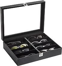 JackCubeDesign Leather 8 Compartments Eyeglass Display Organizer Eyeglasses Sunglass Storage Case Box Eyewear Tray Stand Suede Inside Acrylic Cover(Carbon Design Black, 17.4 x 6.7 x 1.97) – :MK379A