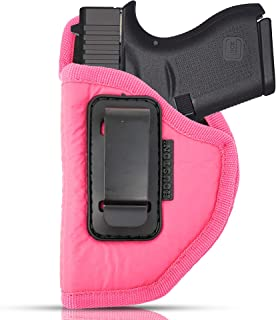 IWB Woman Pink Gun Holster - Houston - ECO Leather Concealed Carry Soft | Suede Interior for Maximum Protection Fits: Glock 43 & 42, KAHR PM 45,MAKAROV.KELTEC PF9/P11