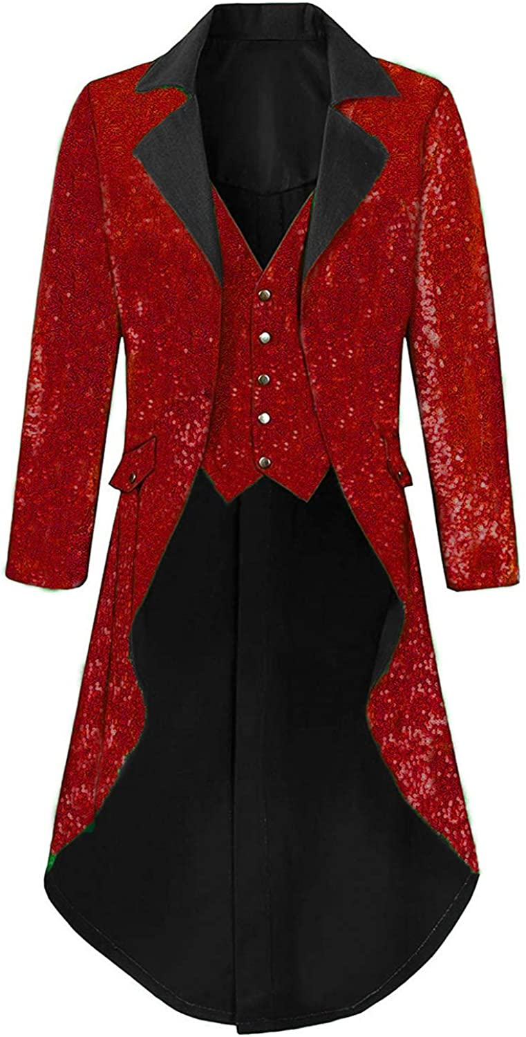 DGMJ Ranking TOP14 Sequins Tailcoat Circus Costume Men Stylish Party Washington Mall for Dinne