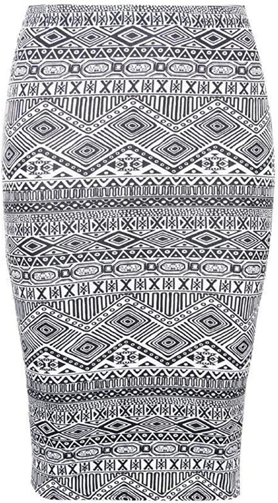 RM New Women's Printed Pencil Skirt, Midi Skirt Normal and Plus Size