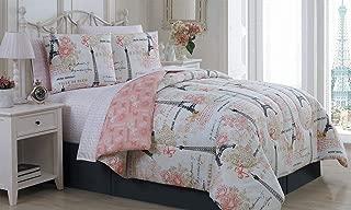 BonJour Paris Eiffel Tower Pink & Grey Flowers Queen Comforter Set (8 Piece Bed in A Bag) + Homemade Wax Melts