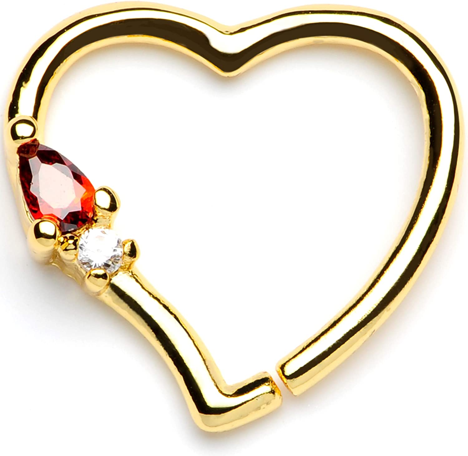 Body Candy 16G Gold Plated Brass Right Ear Helix Daith Cartilage Earring Red Accent Heart Body Jewelry 10mm