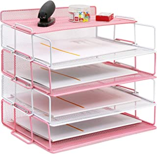 4 Tier Reinforce Stackable Paper Document Letter Tray Desk Organizer, Metal Mesh File Holder Organizer for Home Office Sch...