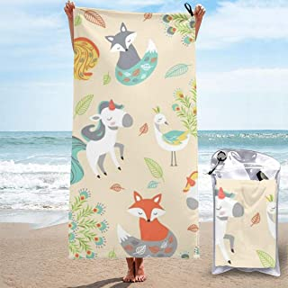 "ANYA TOPSHOP Sand Free Beach Towel Cartoon Animal Fox Unicorn Peacock Natural Fairy Forest Bath Towel with Bag, Microfiber Throw Towel Fast Dry Lightweight Thin Hand Towel for Fitness 31.5""X63"""