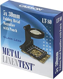 Carson Metal LinenTest 5x30mm or 6.5x20mm Glass Magnifiers with Soft Pouch (LT-60, LT-80)