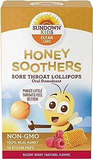 Sundown Kids Honey Soother Sore Throat Lollipops, Non-GMO, Rasberry, 10 Pectin Pops