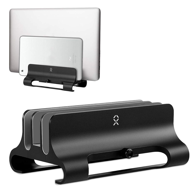 経験摂氏ファイアルBecrowm ノートPCスタンド MacBookスタンド パソコンホルダー 縦置き 3台収納 調節可 アルミ製 iPad/laptop/タブレット適用(ブラック)