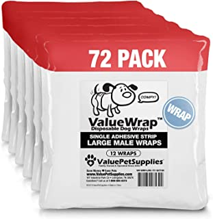 ValueWrap Disposable Male Dog Diapers, 1-Tab, 72 Count - Absorbent Male Wraps for Incontinence, Excitable Urination & Travel, Fur-Friendly Fasteners, Leak Protection, Wetness Indicator