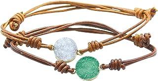 مجوهرات فروتفول البوهيمي اليدوية الحجر الطبيعي أساور الخرز مختلفة من الجلد، بوهو التفاف أساور للنساء والرجال
