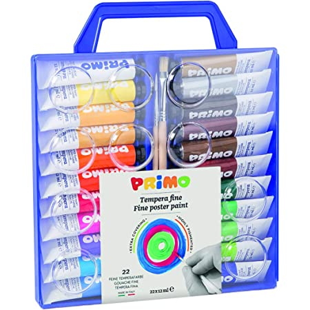 Morocolor PRIMO, Tempere per dipingere 22 colori valigetta con coperchio tavolozza e pennelli tempere lavabili per bambini colori a tempera tubetto d'alluminio 12ml, alta pigmentazione, Made in Italy