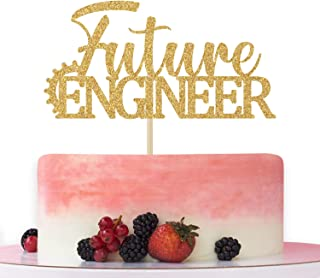 Future Engineer Cake Topper, Congrats Engineer 2021, Class of 2021 Engineer Graduation Party Decoration Supplies Gold Glit...