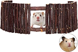 SAWMONG Flexible Wood Hideout, Hamster Rat Natural Apple Sticks Door Fence, Tunnel & Hideout for Hamster, Mouse, Gerbil, S...