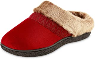isotoner Women's Microsuede Sage Faux Fur Hoodback Slippers