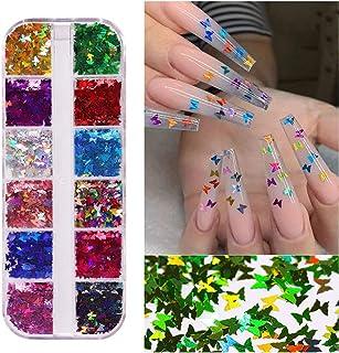 Brillo de uñas de mariposa holográfico 3D 12 colores/juego Brillo de uñas de mariposa Lentejuelas de uñas de mariposa Pail...