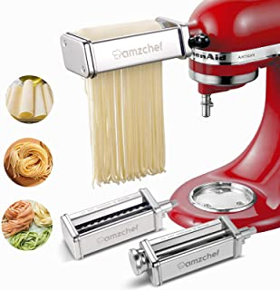 AMZCHEF Pasta Maker Attachments Set for KitchenAid Stand Mixers, 3 Pcs Stainless Steel Pasta Maker Attachment for Kitchena...