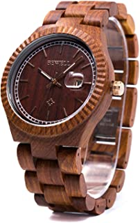 Men Wood Watch Bewell Vintage Quartz Movement Lightweight Wrist Watches W112A