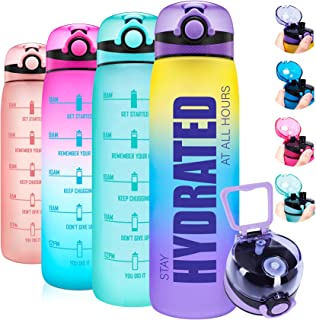 Elvira 32oz Motivational Water Bottle with Time Marker & Removable Fruit Infuser, Leakproof BPA Free Wide Mouth, Ensure Yo...