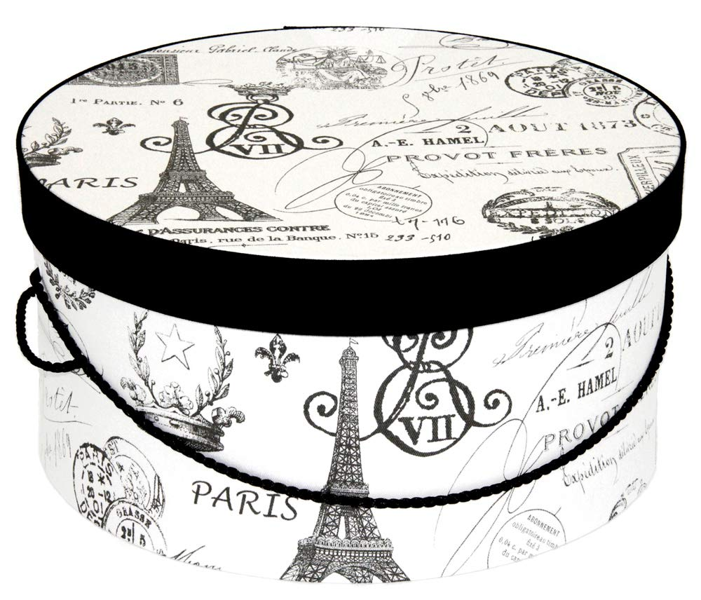 Household Essentials 3-Piece Hat Box Set with Faux Leather Lids Scroll Pattern