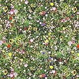 Fabulous Fabrics Halbpanama grün, Blume, 140cm breit –