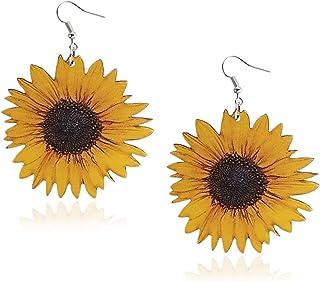 Boho Silver Plated Sunflower Dangle Drop Hook Ear Studs Flower Earrings