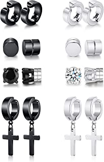 Vegolita 6-8Pairs Stainless Steel Magnetic Stud Earrings for Men Women Hoop Dangle Earrings CZ Non Pierced Earrings Set