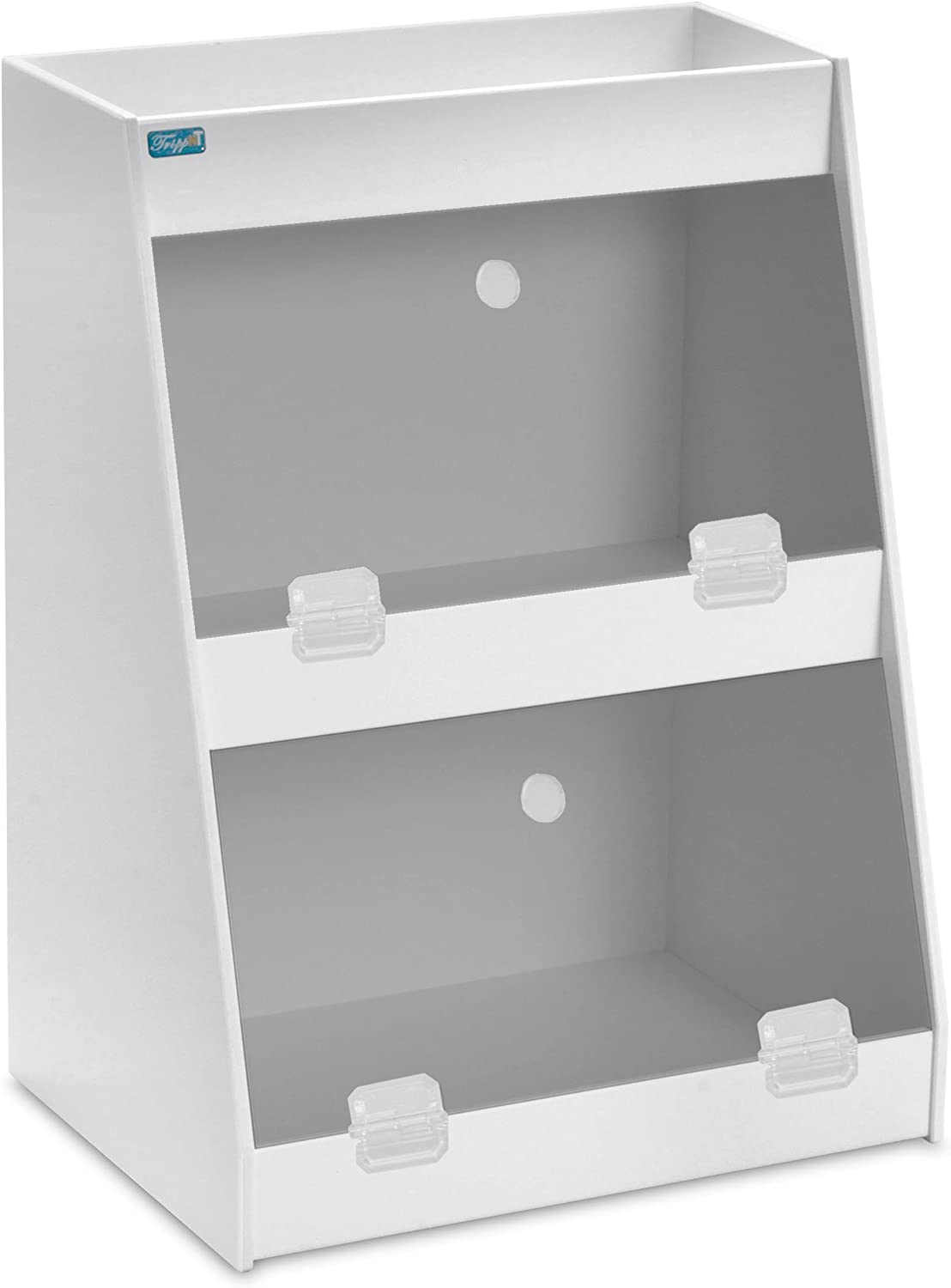 TrippNT 50013 PVC Angled Triple Safety Shelves with Smoke Door, 12-Inch Width x 16-Inch Height x 9-Inch Depth, Smoke White