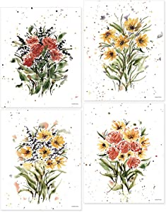 Focus and Zeal Floral Art 4 Pack - Collection of 4 Colorful Watercolor Flowers on 8