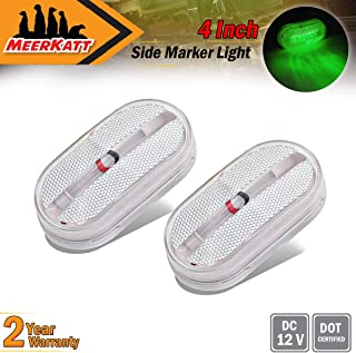 Meerkatt (Pack of 2) Clear Lens Green LED Trailer Marker Clearance Lights Rainproof Button Surface Mount Front Indicators RV Jeep Truck Boat Bus Lorry Camper SUV Car 12v DC Rectangular Rectangle TT12