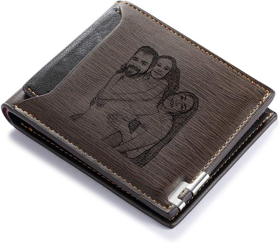 Customized Wallets for Men Engraved Leather Photo Wallet for Dad Son (style 2)